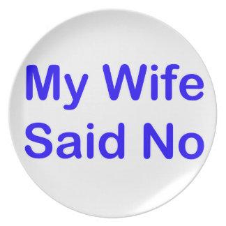 Mi esposa dijo no en una fuente azul marino plato de cena
