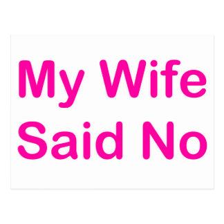 Mi esposa dijo no en una fuente de las rosas postal