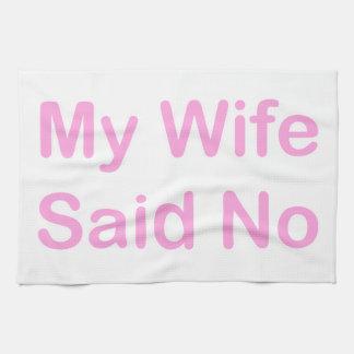 Mi esposa dijo no en una fuente de los rosas bebés toallas