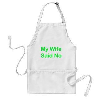 Mi esposa dijo no en una fuente verde clara delantal