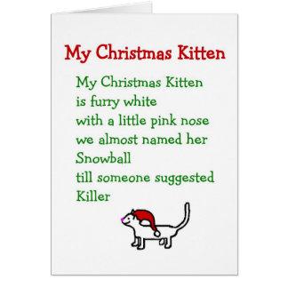 Mi gatito del navidad - un poema divertido del nav tarjeton