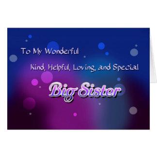 Mi hermana grande maravillosa (cumpleaños) tarjeta de felicitación