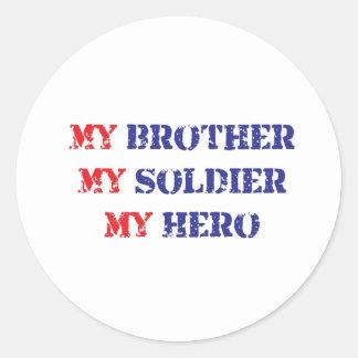 Mi hermano, mi soldado, mi héroe etiquetas redondas