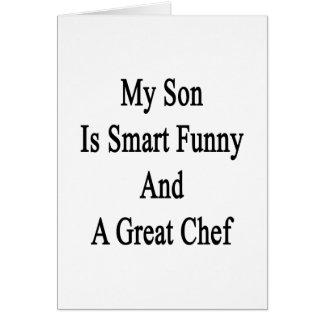 Mi hijo es divertido elegante y gran cocinero tarjeta