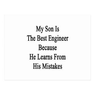 Mi hijo es el mejor ingeniero porque él aprende de postal