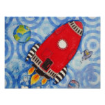 Mi luna Rocket en la impresión roja Poster