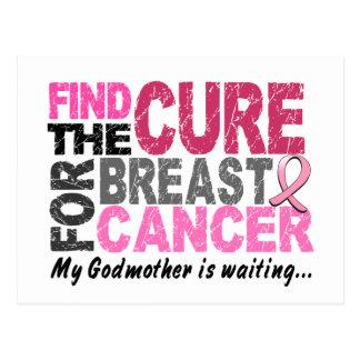 Mi madrina está esperando al cáncer de pecho postal