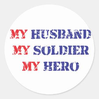 Mi marido, mi soldado, mi héroe etiquetas redondas