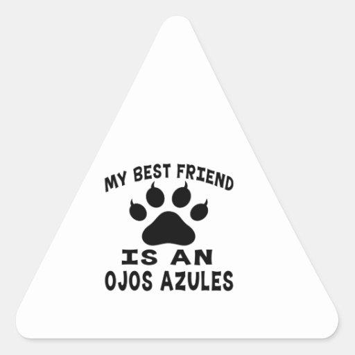Mi mejor amigo es un gato de Ojos Azules Calcomanías Triangulos