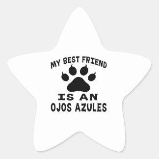 Mi mejor amigo es un gato de Ojos Azules Pegatina Forma De Estrella