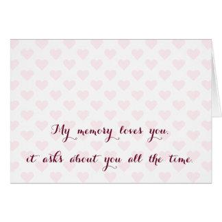 Mi memoria le ama. Faltándole ame la tarjeta de la