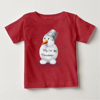 Mi muñeco de nieve rojo lindo del primer bebé del camiseta de bebé