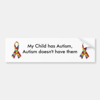 Mi niño tiene autismo. Pegatina para el parachoque Pegatina Para Coche