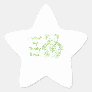 Mi oso de peluche calcomanías forma de estrella personalizadas