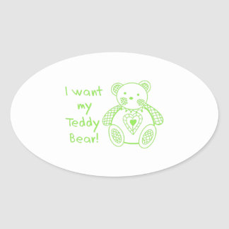 Mi oso de peluche pegatinas óval personalizadas