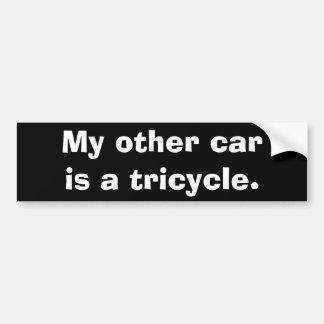 Mi otro coche es un triciclo pegatina para coche