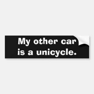 Mi otro coche es un unicycle. pegatina para coche