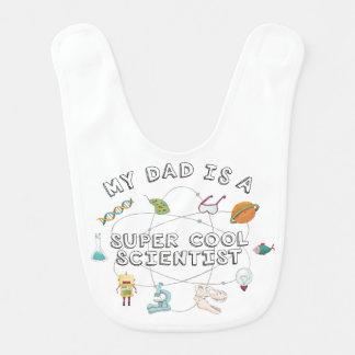 Mi papá es científico fresco estupendo (el bebé) babero de bebé