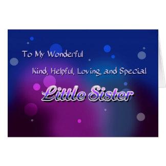 Mi pequeña hermana maravillosa (cumpleaños) tarjeta de felicitación