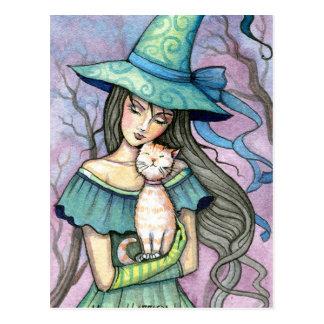 Mi postal dulce del gato de la bruja del Tabby