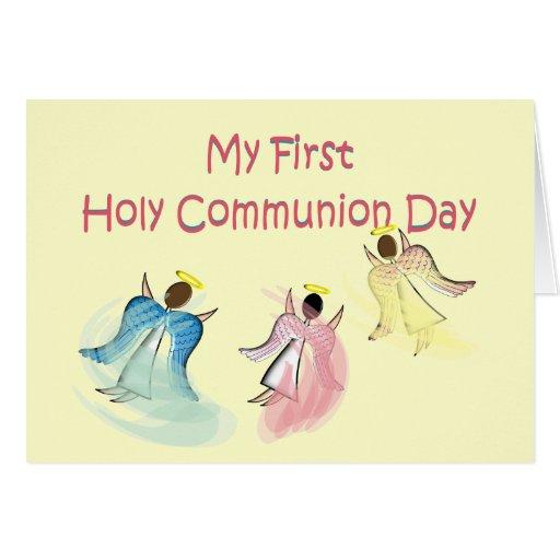 Mi primer día de la comunión santa tarjetas