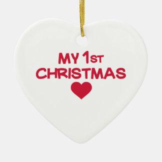 Mi primer navidad adorno de cerámica en forma de corazón