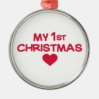 Mi primer navidad adorno redondo plateado