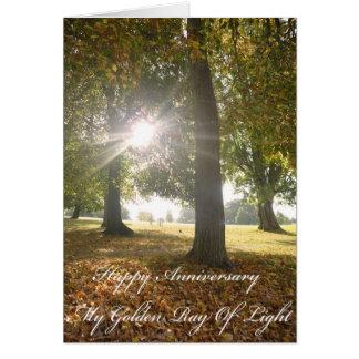 Mi rayo de oro de la tarjeta del aniversario de la