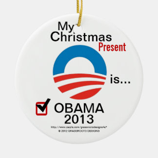 Mi regalo de Navidad es Obama 2013 - logotipo de Adorno Navideño Redondo De Cerámica