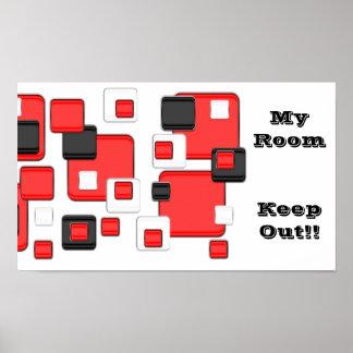 Mi sitio, guarda hacia fuera, negro rojo, cuadrado posters