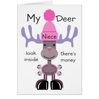 Mi sobrina de los ciervos tarjeta de felicitación
