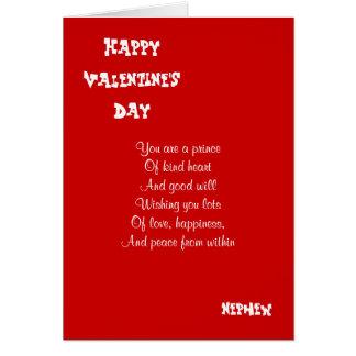 Mi sobrino el el día de San Valentín Tarjeta De Felicitación