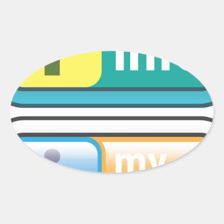 Mi vector del botón del Info Pegatina Ovalada