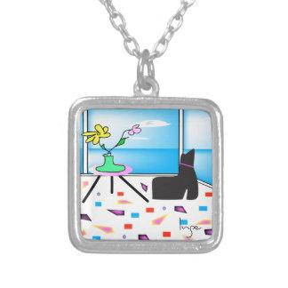 Miami colorida caprichosa enrrollada, gráfico collar plateado