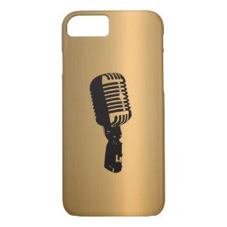 Micrófono en el efecto de cobre de bronce funda iPhone 7