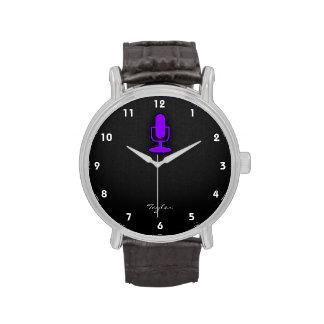 Micrófono púrpura violeta reloj de mano