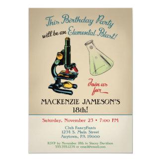 Microscopio de la invitación del cumpleaños de la