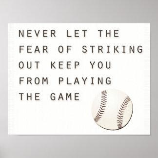 miedo de pegar hacia fuera béisbol moderno póster