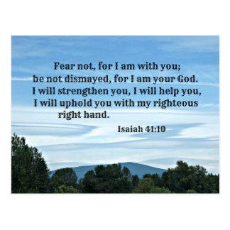 Miedo del 41:10 de Isaías no para mí estoy con Postal