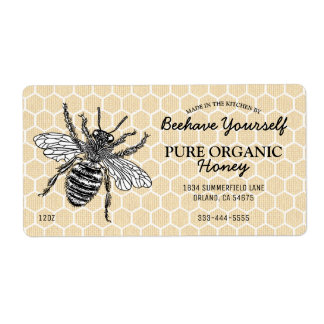 Miel de la abeja del panal del vintage etiquetas de envío