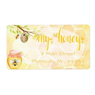 Miel del colmenar de la abeja que envía Labe Etiqueta De Envío