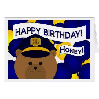 ¡Miel - héroe de la policía del feliz cumpleaños! Tarjeta De Felicitación