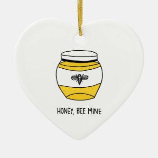 Miel, mina de la abeja adorno navideño de cerámica en forma de corazón