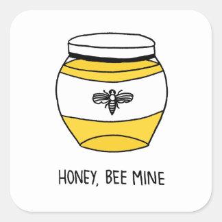 Miel, mina de la abeja pegatina cuadrada