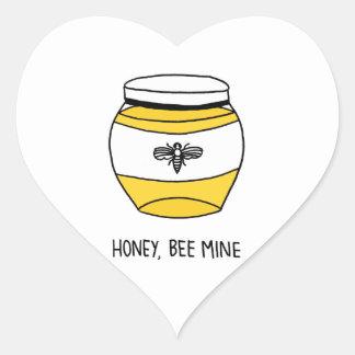 Miel, mina de la abeja pegatina en forma de corazón