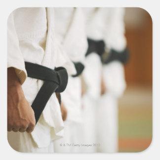 Miembros de un ir de discotecas del judo alineado calcomanías cuadradases