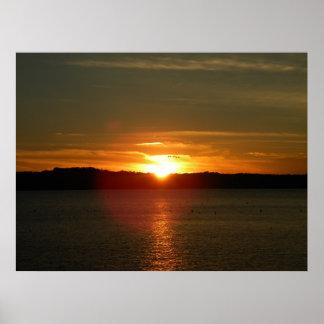Migración de la puesta del sol póster
