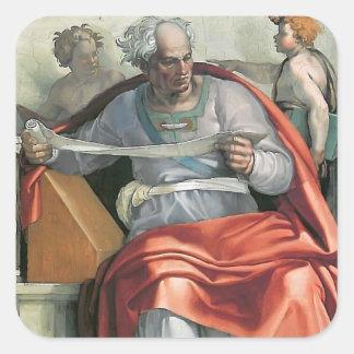 Miguel Ángel: Techo de la capilla de Sistine: Pegatina Cuadrada