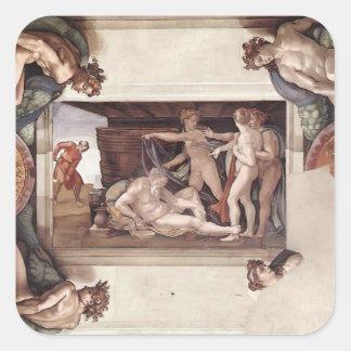 Miguel Ángel: Techo de la capilla de Sistine Pegatina Cuadrada