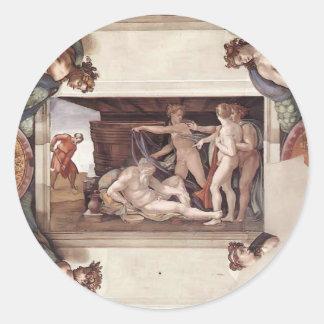 Miguel Ángel: Techo de la capilla de Sistine Pegatina Redonda